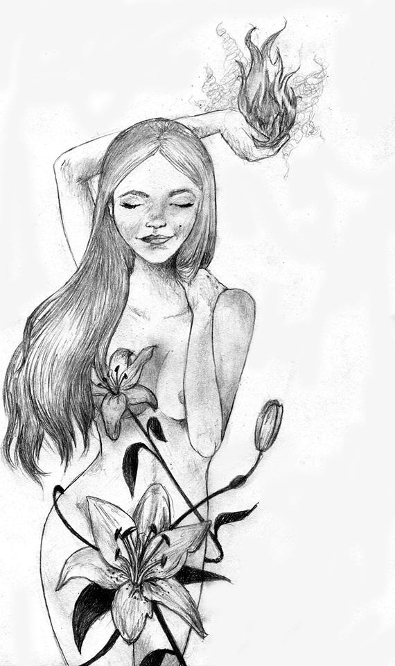 Ilustración del poema Entre cenizas y flores de mayo.